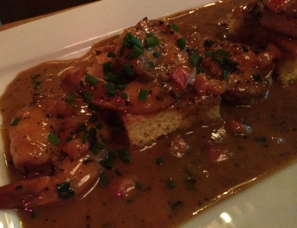 … The house favorite, sautéed jumbo shrimp, simmered in an amber beer reduction on top of housemade jalapeño cornbread