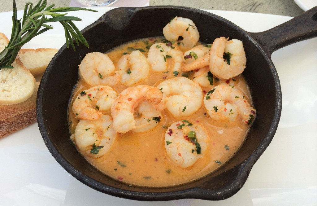 Kiss Before Shrimp (Pan seared shrimp in a garlic & chili lemon butter with sliced baguette)
