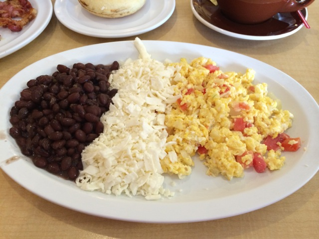 Andino $6.99 - black beans, grated cheese, scrambled eggs with onion and tomato