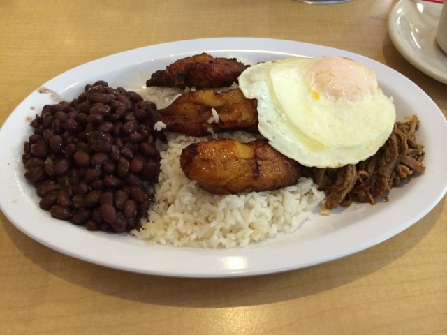 Pabellon Criollo with Egg $9.99 - shredded beef, black beans, white rice, fried sweet plantains
