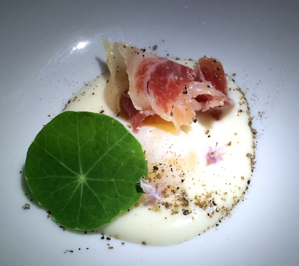 pureed cauliflower, poached quail egg, jambon and a nasturtium leaf