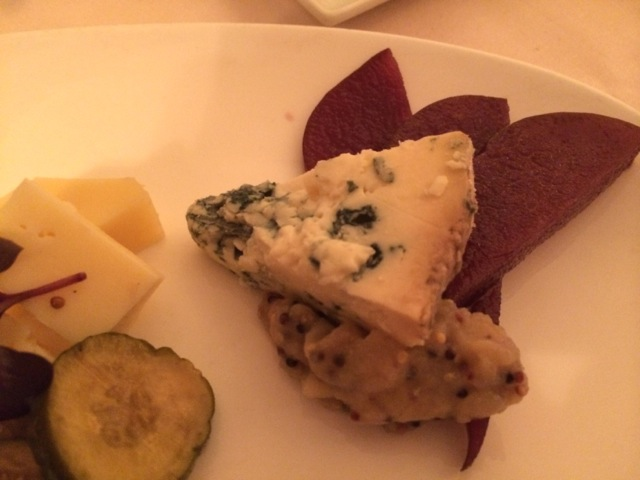 blue cheese with mustard chutney and spiced pears