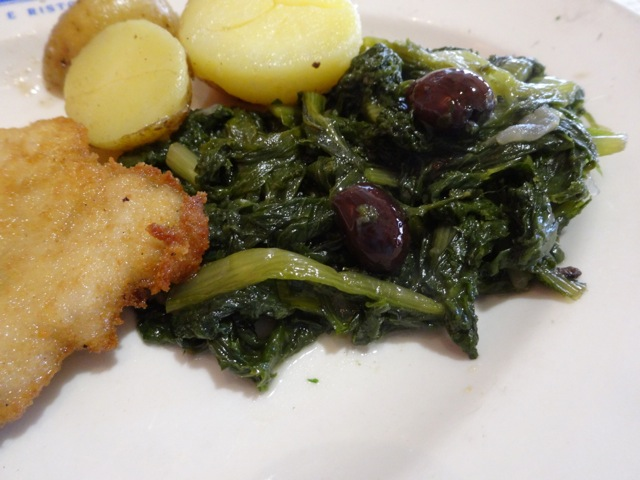 Veal Cutlet with Chickory & Olives