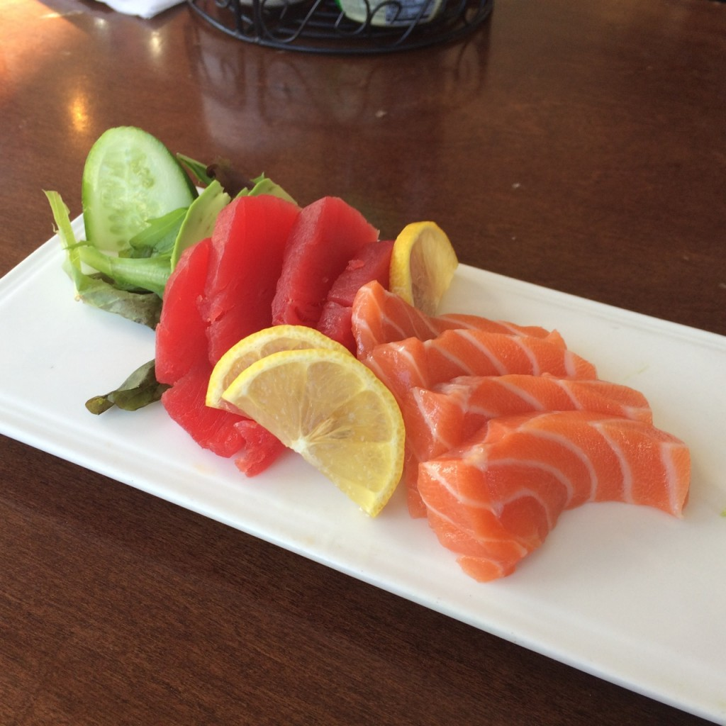 excellent sashimi at Splitsville 141011 - 2